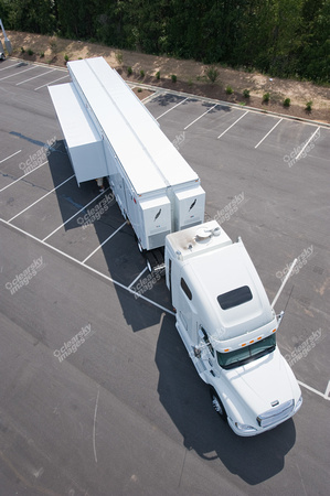 Commercial photography of Med1, mobile medical trailer